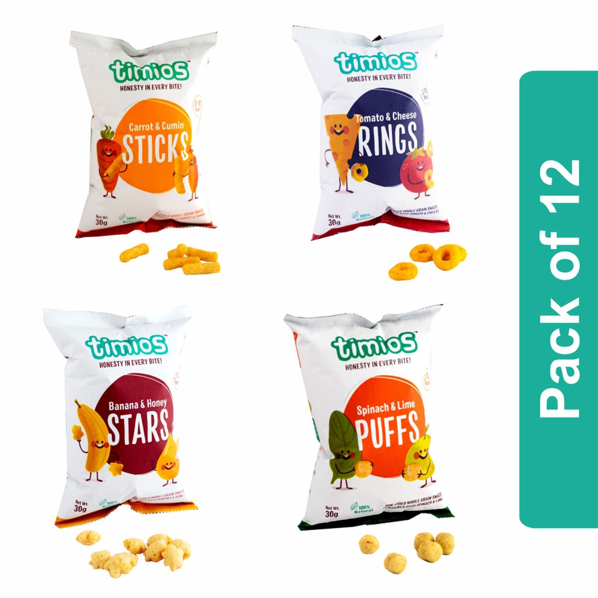 Timios Snack Mix Flavours (Rings, Puffs, Stars & Sticks)- Pack of 12