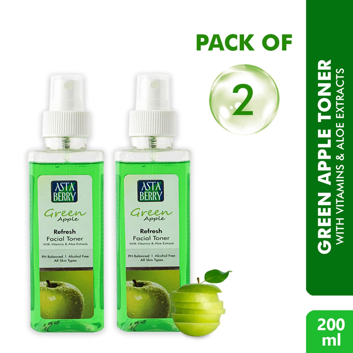 Astaberry Green Apple Toner (200ml) Pack of 2