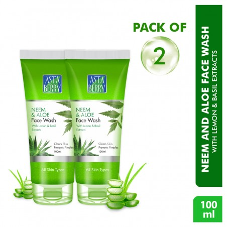 Astaberry Neem & Aloe Face Wash 100ml (Pack of 2)