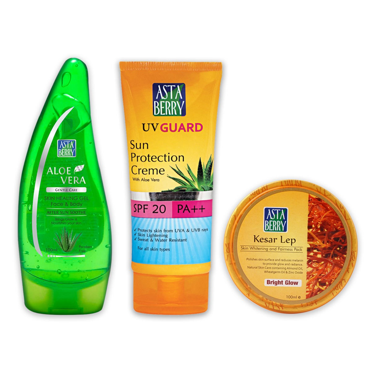 Astaberry Aloe Vera Gel (100ml), UV Guard Sun Protection Cream -SPF-20  (100ml), Kesar Lep (100 ml)