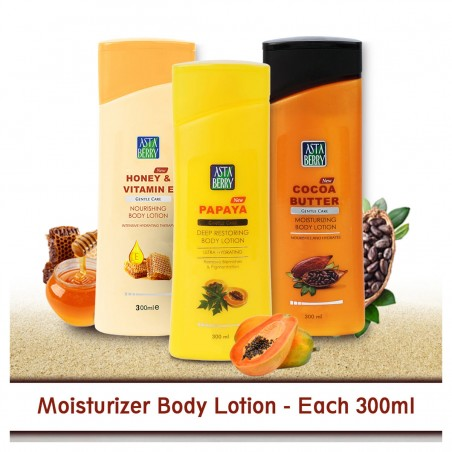 Astaberry Body Lotion Honey Vitamin E,  Coco Butter & Paypaya
