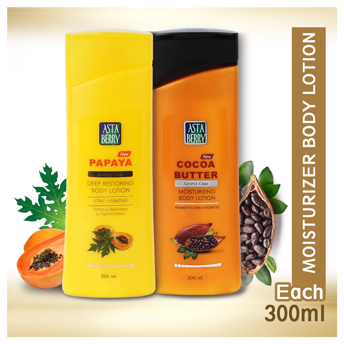 Astaberry Body Lotion Papaya & Coco Butter (pack 2) 300ml