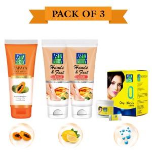 Astaberry Body Fairness Kit (Oxy Bleache 42gm, Face Wash Papaya 60ml, Hand & Foot Scrub 50 Crème 50)