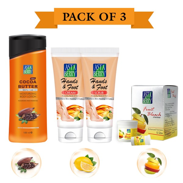 Astaberry Body Fairness Kit (Fruit  Bleach 42gm, Body Lotion Cocoa Butter 100ml, Hand & Foot Scrub 50 Crème 50)
