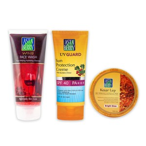 Astaberry Kesar Lep (100 ml),UV Guard Sun Protection Cream -SPF-40(100ml),Wine Face Wash 100ml