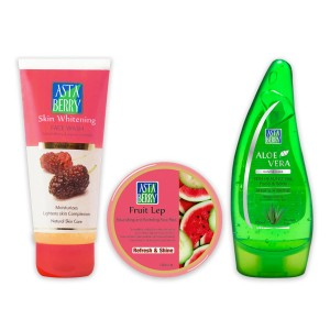 Astaberry Fruit Lep (100ml), Skin Whitening Face Wash 100ml, Aleovera Gel 100ml