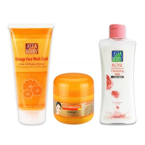 Astaberry Bhimsaini Kesar Ubtan 100ml, Rose Cleansing Milk & Makeup Remover-(200ml), Orange Face Wash Scrub 100ml