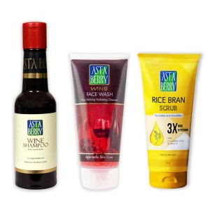 Astaberry Wine Shampoo (200 ml), Wine Face Wash, Rice Bran Scrub (100 ml)