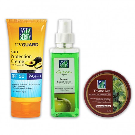 Astaberry Green Apple Toner (200ml), Thyme Lep (100 ml), UV Guard Sun Protection Cream -SPF-40 (100ml)