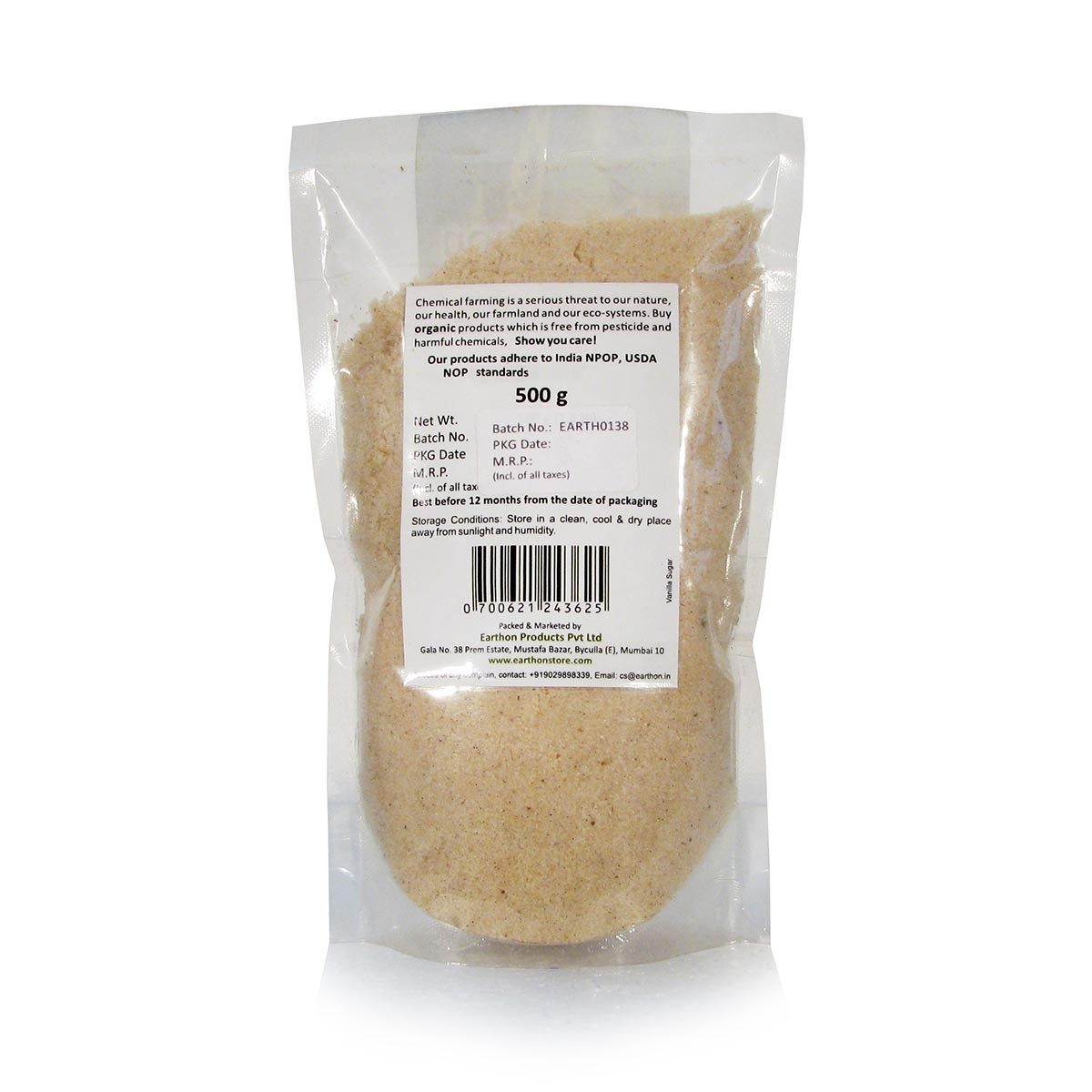 Earthon Vanilla Sugar 500gm