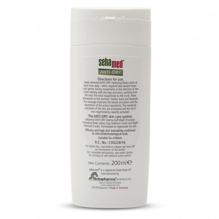 Sebamed Anti-Dry Hydrating Body Lotion back