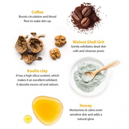 LetsShave Exfoliating Face Scrub with Coffee Grounds, Kaolin Clay and Honey - ingredients