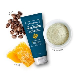 LetsShave Exfoliating Face Scrub with Coffee Grounds, Kaolin Clay and Honey - bottle