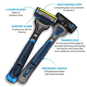 LetsShave Pro 6 Advance Razor Pack (Handle + Blade + Razor Cap)