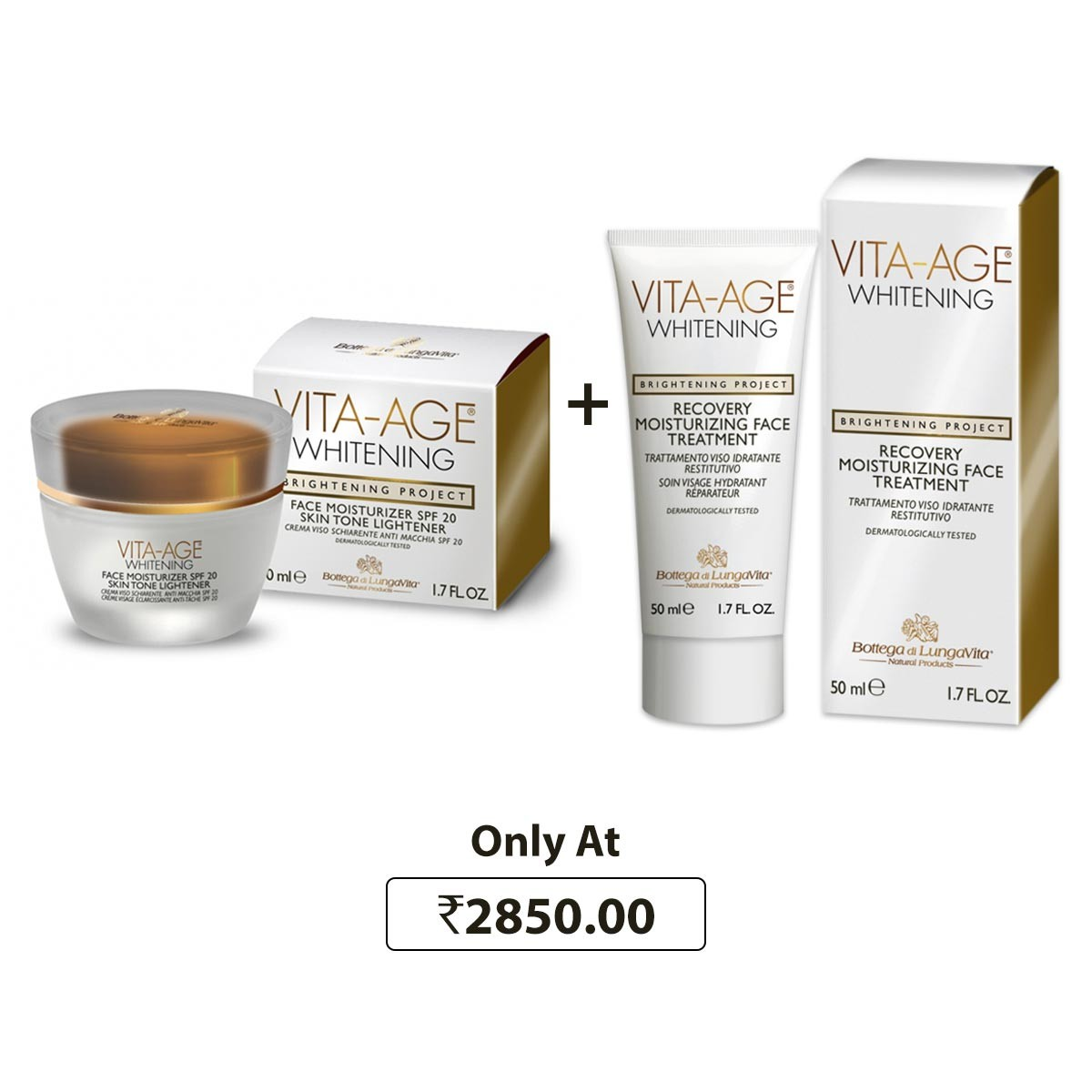 Bottega Di Lungavita Whitening Face Moisturizer + Bottega Di Lungavita Whitening Recovery Moisturizing Face Treatment Combo