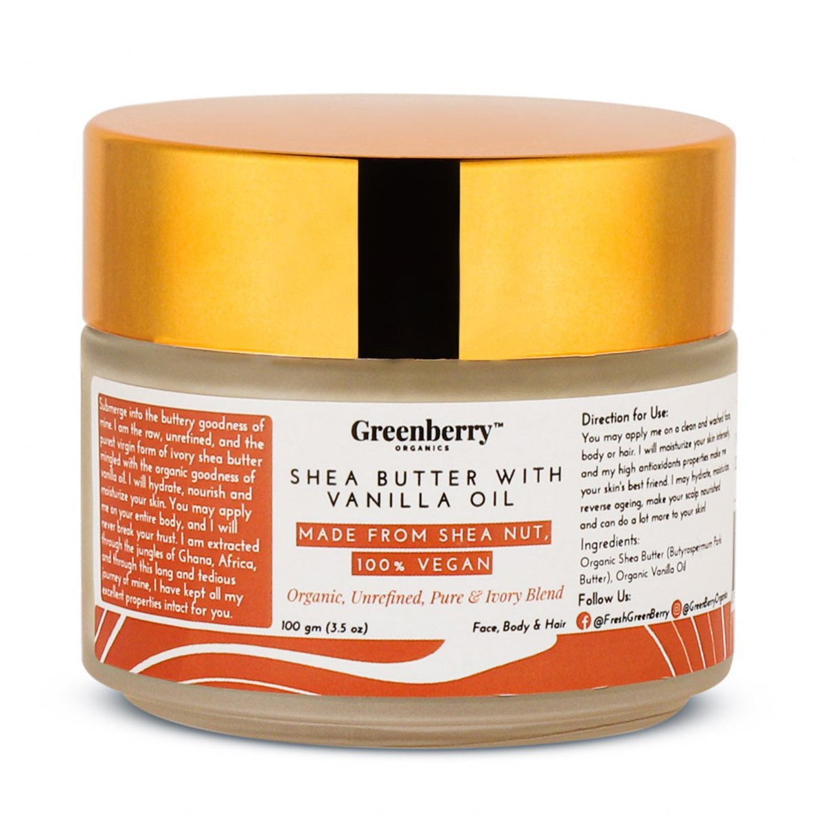 Greenberry Organics Shea Butter with Vanilla Oil - 100 Grams
