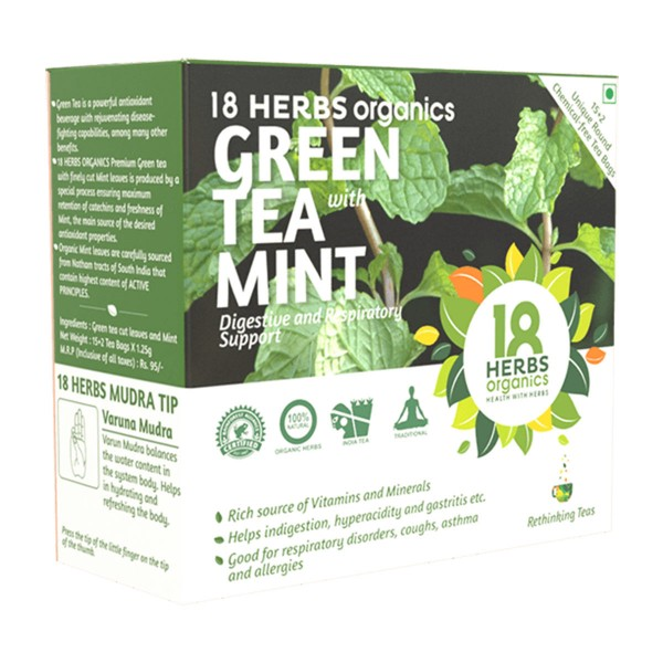 18 Herbs Organics Green Tea With Mint 15+2 Bags
