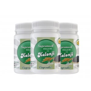 SUPERMUCIL Psyllium with Kalonji Capsules: 360 Capsules (500 mg each) (Combo Pack) (3X120 Caps)