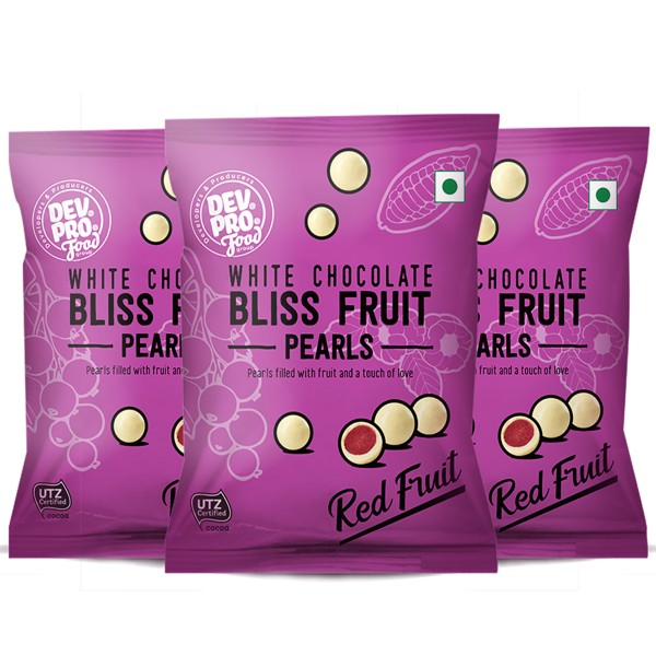 Dev. Pro. Bliss Fruit Pearls Forest Fruit Yoghurt White chocolate (Pack of 3)